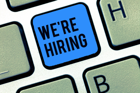 Word writing text We re are hiring. Business concept for Job vacancy Manpower polling Recruiting Available position.