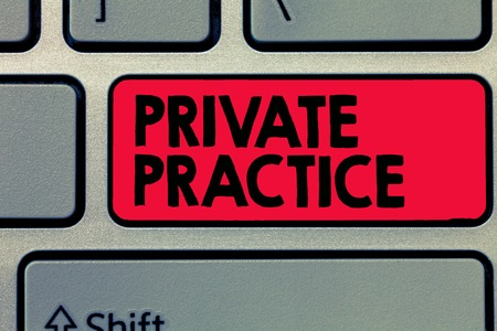 Writing note showing Private Practice. Business photo showcasing work of professional practitioner such as doctor or lawyer.