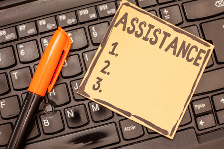 Conceptual hand writing showing Assistance. Business photo showcasing Helping someone Sharing work Give support Reinforcement. Stock fotó