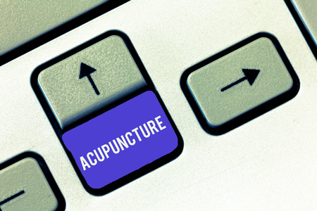 Conceptual hand writing showing Acupuncture. Business photo showcasing Alternative therapy Treatment for pain and illness using needle.