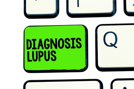 Conceptual hand writing showing Diagnosis Lupus. Business photo text Urine examination show an increase of protein level. 스톡 콘텐츠