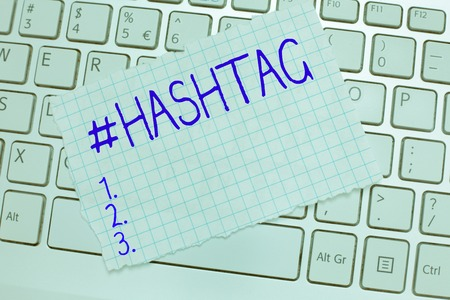 Word writing text Hashtag. Business concept for Internet tag for social media Communication search engine strategy.