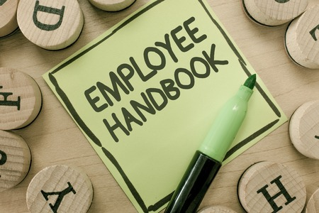 Conceptual hand writing showing Employee Handbook. Business photo showcasing Document that contains an operating procedures of company.
