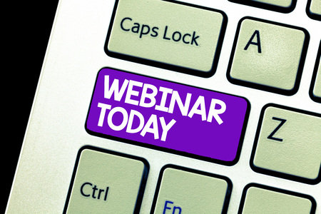 Text sign showing Webinar Today. Conceptual photo Presentation that takes place on the Internet Video conference. Stock Photo