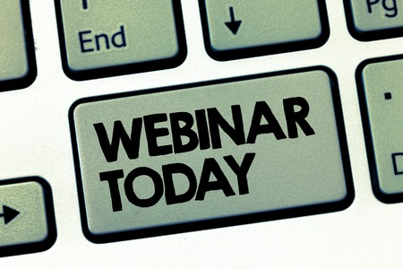 Text sign showing Webinar Today. Conceptual photo Presentation that takes place on the Internet Video conference. 스톡 콘텐츠