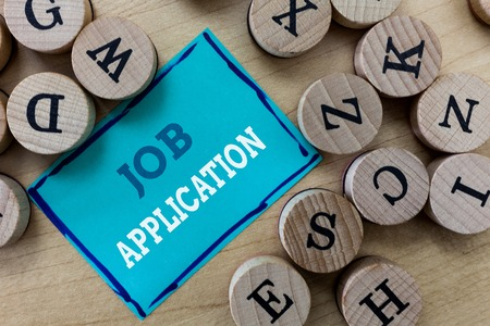 Writing note showing Job Application. Business photo showcasing The standard business document serves a number of purposes. Stock Photo