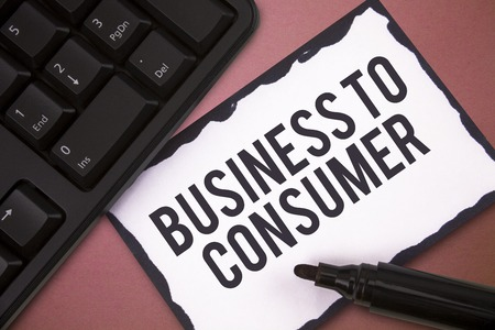 Writing note showing Business To Consumer. Business photo showcasing Direct Transaction between a Company and end users.