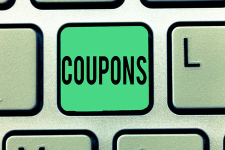 Text sign showing Coupons. Conceptual photo Certificate Ticket Label for discount gift price Promotion Sale.