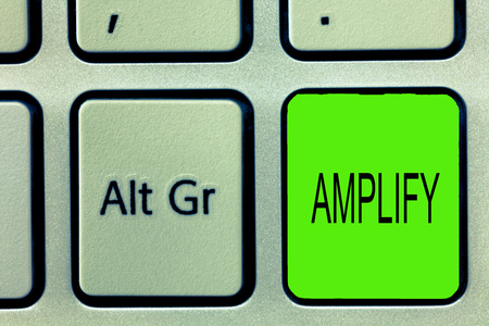 Writing note showing Amplify. Business photo showcasing Make something bigger louder increase the volume using amplifier. Stok Fotoğraf