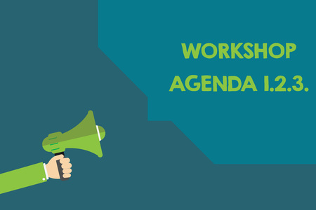 Handwriting text Workshop Agenda 1.2.3.. Concept meaning help to ensure that Event Stays on Schedule.