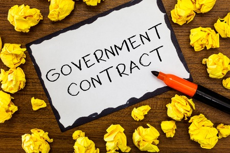 Writing note showing Government Contract. Business photo showcasing Agreement Process to sell Services to the Administration.