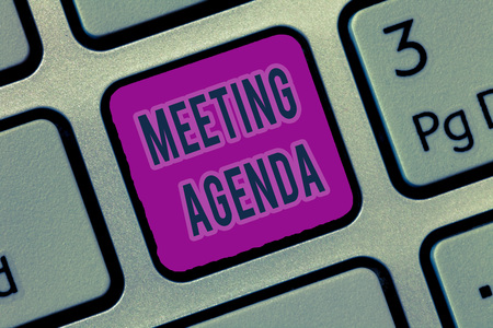 Writing note showing Meeting Agenda. Business photo showcasing An agenda sets clear expectations for what needs to a meeting.