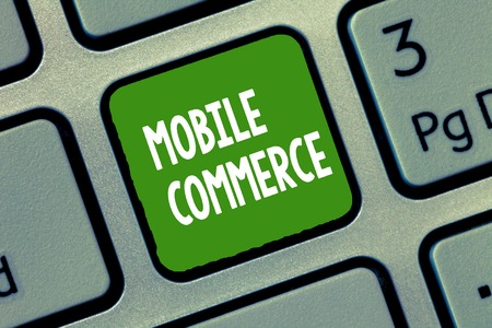 Handwriting text Mobile Commerce. Concept meaning Using mobile phone to conduct commercial transactions online.
