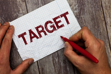 Handwriting text Target. Concept meaning person object or place selected as the aim of attack Life goal. Stockfoto