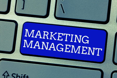 Conceptual hand writing showing Marketing Management. Business photo showcasing Develop Advertise Promote a new Product or Service.