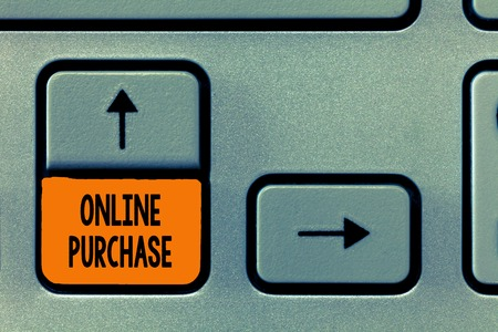 Text sign showing Online Purchase. Conceptual photo Purchases electronic commerce goods from over the Internet. Imagens