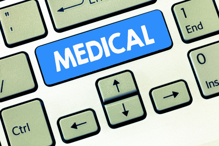 Conceptual hand writing showing Medical. Business photo text Related to science of Medicine Treatment for illness or injuries.