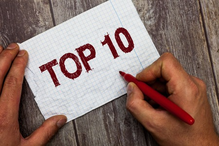 Handwriting text Top 10. Concept meaning List of most demanding Trending songs movies shows online in order.