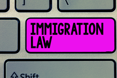 Text sign showing Immigration Law. Conceptual photo Emigration of a citizen shall be lawful in making of travel.