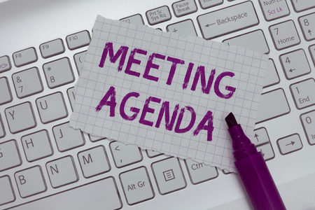 Conceptual hand writing showing Meeting Agenda. Business photo text An agenda sets clear expectations for what needs to a meeting. Stockfoto