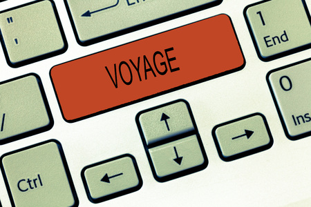 Word writing text Voyage. Business concept for Long journey involving travel by sea or in space Tourism Vacation. Archivio Fotografico