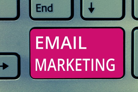 Conceptual hand writing showing Email Marketing. Business photo showcasing Sending a commercial message to a group of people using mail.