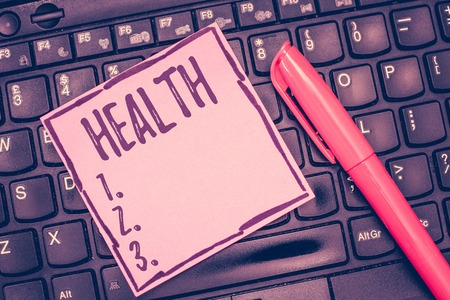 Word writing text Health. Business concept for State of being free from Illness Injuries Mental Physical condition.