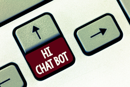 Word writing text Hi Chat Bot. Business concept for Greeting to robot machine who answers to a sent message.