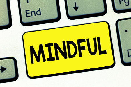 Word writing text Mindful. Business concept for Conscious Aware of something Inclined Willing to do Meditation. Imagens