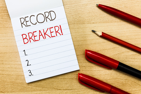 Conceptual hand writing showing Record Breaker. Business photo text someone or something that beats previous best result .