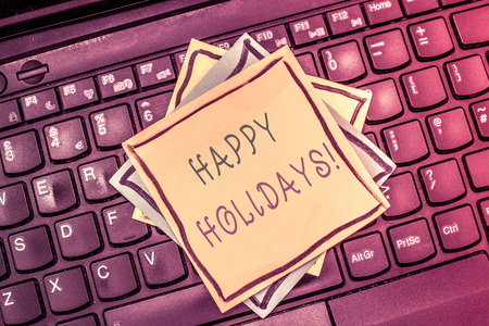 Text sign showing Happy Holidays. Conceptual photo Made a short journey by a group of people for pleasure. Stok Fotoğraf