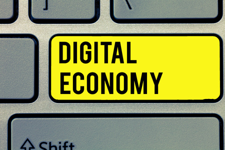 Text sign showing Digital Economy. Conceptual photo worldwide network of economic activities and technologies. Imagens