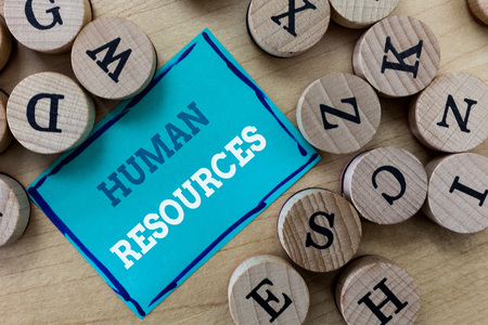 Writing note showing Human Resources. Business photo showcasing The people who make up the workforce of an organization.