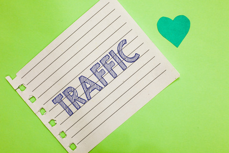 Word writing text Traffic. Business concept for Vehicles moving on public highway Automobile motion Transport Notebook piece paper reminder heart romantic messages green background