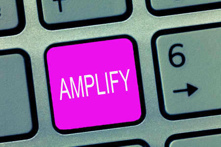 Handwriting text Amplify. Concept meaning Make something bigger louder increase the volume using amplifier. Stok Fotoğraf