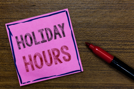 Text sign showing Holiday Hours. Conceptual photo Schedule 24 or 7 Half Day Today Last Minute Late Closing Purple Paper Important reminder Communicate ideas Marker Wooden background