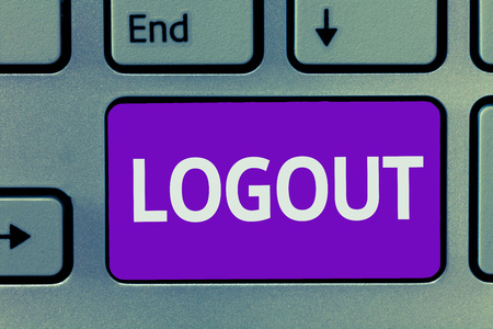 Conceptual hand writing showing Logout. Business photo text go through procedures to conclude use of computer database or system.