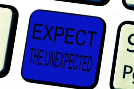 Text sign showing Expect The Unexpected. Conceptual photo Anything can Happen Consider all Possible Events. Foto de archivo