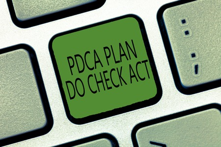 Writing note showing Pdca Plan Do Check Act. Business photo showcasing Deming Wheel improved Process in Resolving Problems. 写真素材