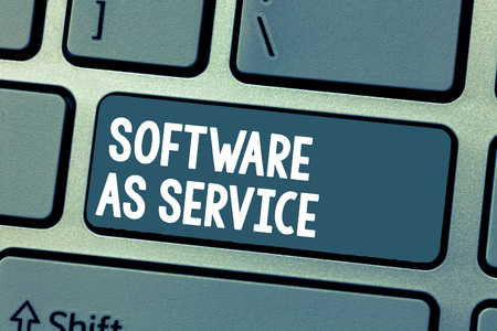 Text sign showing Software As Service. Conceptual photo On Demand licensed on Subscription and centrally hosted.