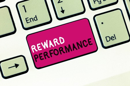 Conceptual hand writing showing Reward Performance. Business photo showcasing Appraisal Recognize workers Relative Worth to the company. Stock Photo