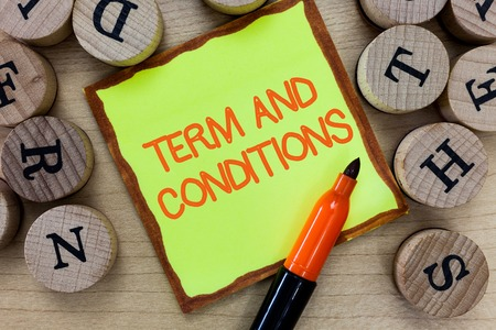Word writing text Term And Conditions. Business concept for Policies and Rules where one must Agree to Abide. Imagens