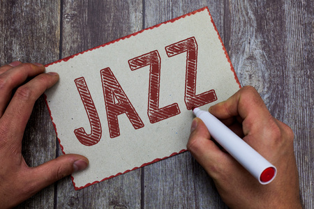 Word writing text Jazz. Business concept for Forceful rhythm Using brass and woodwind instruments to play the music. Stock Photo