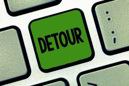 Word writing text Detour. Business concept for long or roundabout route taken to avoid something or visit somewhere.