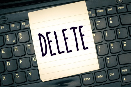 Writing note showing Delete. Business photo showcasing remove or obliterate written or printed matter by drawing line onit.