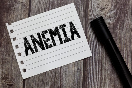 Conceptual hand writing showing Anemia. Business photo text condition where there deficiency of red cells of haemoglobin in blood.