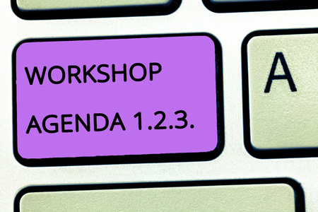 Word writing text Workshop Agenda 1.2.3.. Business concept for help to ensure that Event Stays on Schedule.
