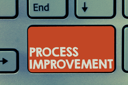 Text sign showing Process Improvement. Conceptual photo Optimization Meet New Quotas Standard of Quality. Stockfoto - 110998742