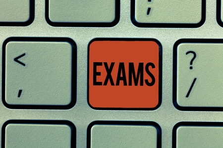 Text sign showing Exams. Conceptual photo test of a specified kind to prove your strength and weakness. Stock fotó