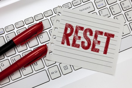 Word writing text Reset. Business concept for cause device return to its factory mode Set again zero start point. 版權商用圖片 - 111018127